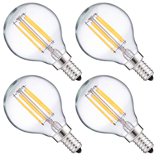 [DORESshop LED Filament Bulb, G16.5 LED Globe Lights Candelabra Base, 4W (40W Equivalent) Dimmable LED Light Bulbs, Natural White 4000K, 400LM, E12 Base Decorative Bulb for Home Lighting, 4-Pack] (G16 Led)