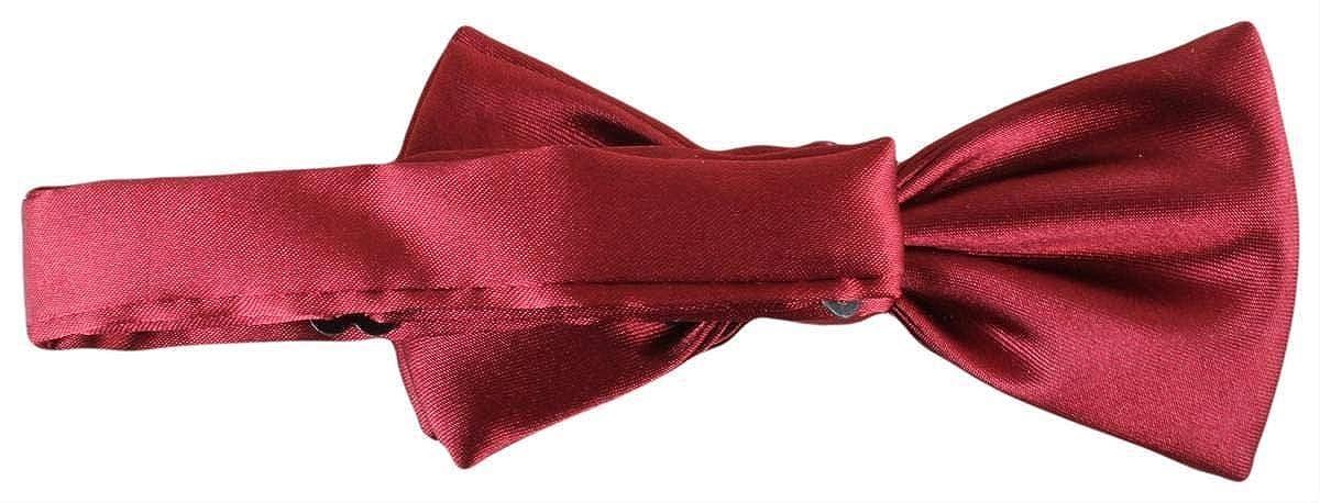 Knightsbridge Neckwear Mens Plain Polyester Bow Tie Dark Red