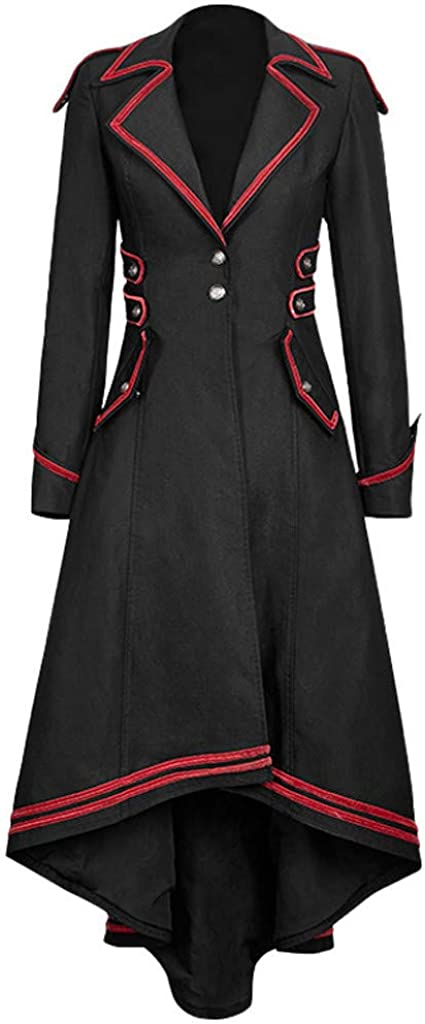 Womens Vintage Gothic Steampunk Long Jacket Trench Coat Plus Size Novelty Button Corset Swallowtail Coat Jacket Outwear Long Sleeve Tail-Coat Splice Medieval Overcoat Outfits mounter