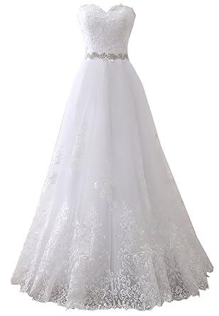 981aebcb66 Annadress Wedding Dress Long Evening Dress Net Sweetheart Zipper Lace  Applique Beading A-Line Prom Dresses 2018 at Amazon Women s Clothing store