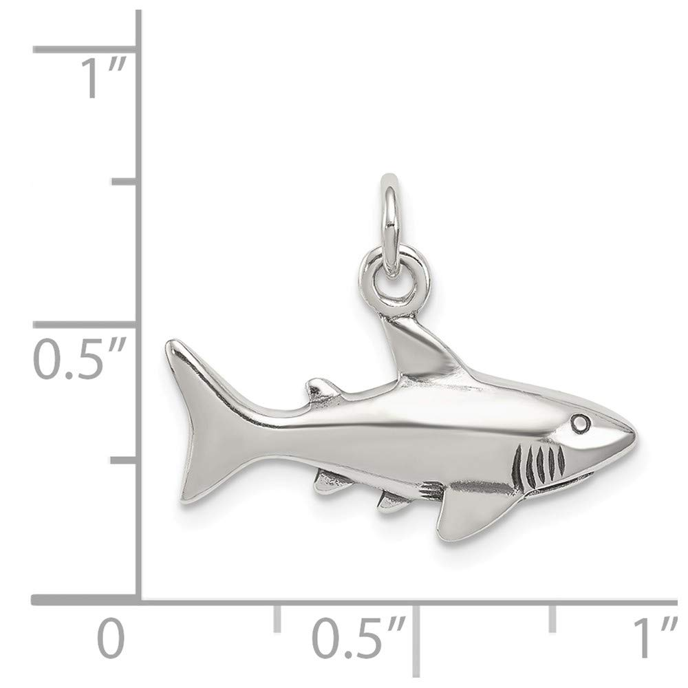 0.6IN long x 0.9IN wide Sterling Silver Antiqued Shark Charm