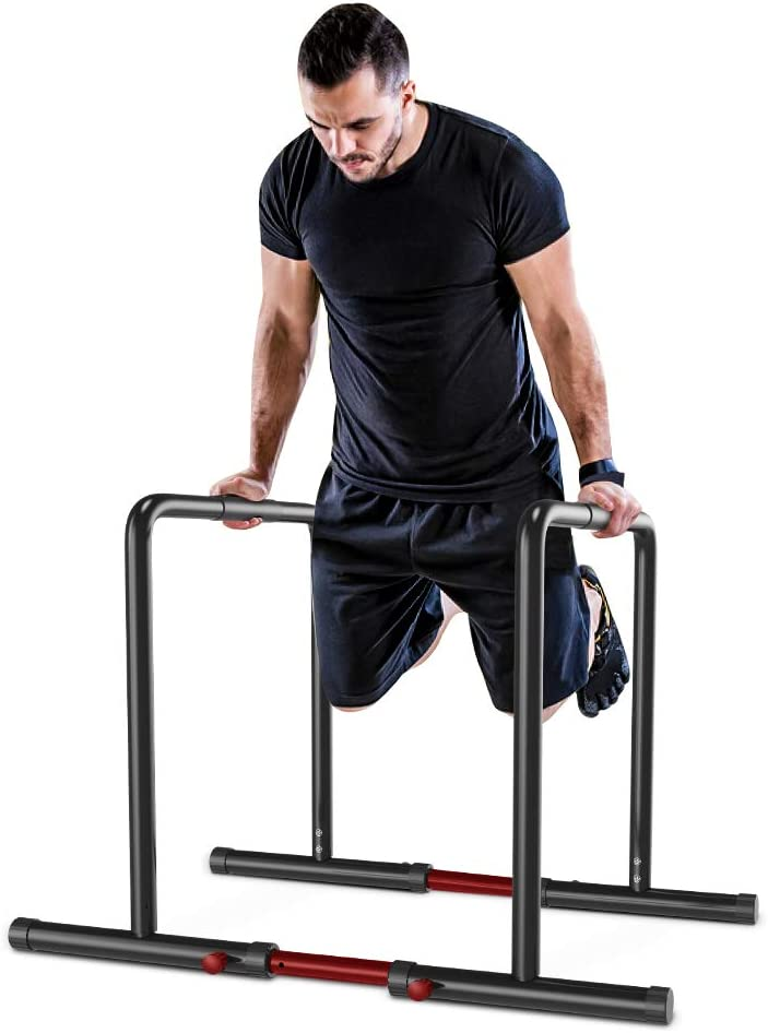 YOLEO Barras Paralelas Calistenia Adjustable, Dip Bar Fitness, Push Up Bars de Inmersión, Altura y Ancho Ajustables, Acero