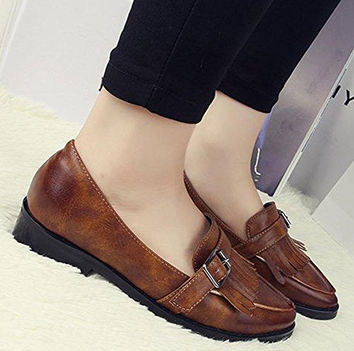 Nappe Depoca Da Donna Nappa A Punta Bassa Slip On Oxfords Shoes Low Heel Brown