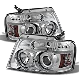 For Ford F150 F-150 Pickup Chrome Clear Dual Halo LED G2 Projector Headlights Front Lamps Replacement