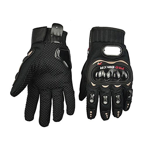 Happy Hours Full Finger Gloves Sports Riding Mountain Racing Authentic Motorcycle Motorbike Motocross Cycling Dirt Bike Breathable Protective Gloves Mittens, Black + Size L