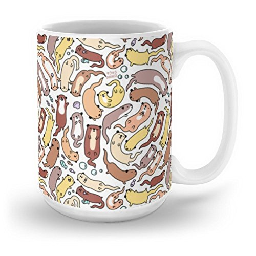 Society6 Adorable Otter Swirl Mug 15 oz (Mug Oz Swirl 15)