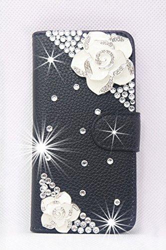 Amazon.com: Lujo moda 3d hecho a mano Bling Diamante Flor ...
