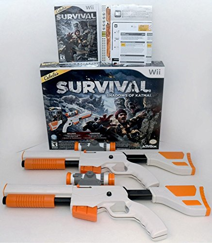 Wii Remote Light Gun - Wii/Wii-U Cabela's Survival Shadows of Katmai Game Set Top Shot 2-GUN BUNDLE