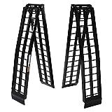 9 ft 1200Lb Aluminum Folding Dual for UTV ATV Loading Ramps Truck Ramp Pair - Black