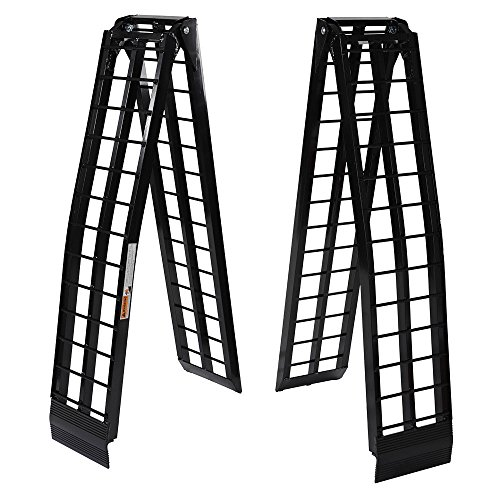 Motorhot 9 ft Portable Aluminum Folding Dual for UTV ATV Loading Ramps Truck Ramp Pair - Black,1200Lb