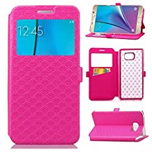 YHUISEN Solid Color Smart Window View PU Leather Wallet Flip Folio Cover Case With Stand/Card Slot For Samsung Galaxy Note 5 ( Color : Rose )