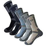 5Pack Men's Bio Climbing DryCool Cushion Hiking/Performance Crew Socks 5Pair Large