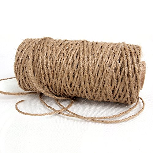 Ling's moment 150 Feet Natural Hemp Cord 3 Ply Gift Wrapping Jute Twine Rope for Baby Shower Wedding Decorations