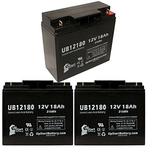 3x Pack - Frank Mobility Go Ped ESR 750 Battery - Replacement UB12180 Universal Sealed Lead Acid Battery (12V, 18Ah, 18000mAh, T4 Terminal, AGM, SLA)