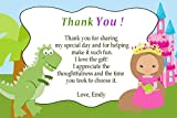 30 Thank You Card Note Green Blue Pink Dinosaur Castle Princess Design Twins Siblings Baby Shower Birthday Party Personalized Cards + 30 White Envelopes