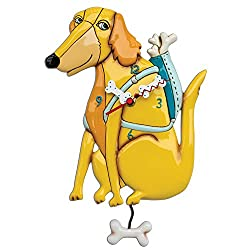 Allen Designs Buddy N Bones Whimsical Dog Pendulum Wall Clock