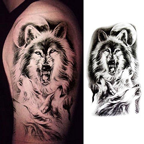 Oottati Old School Wolf Moonlight Black Arm Temporary Tattoo