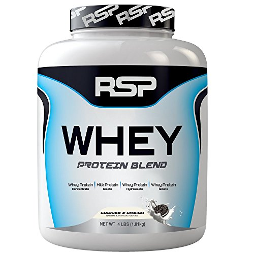 RSP Nutrition Whey Protein Powder Blends, Cookies and Cream, 4 Pound by RSP Nutrition