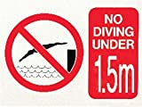 Swimming Pool No Diving Under 1.5 Meter Safety & Warning Foamex 300x400x2mm Sign