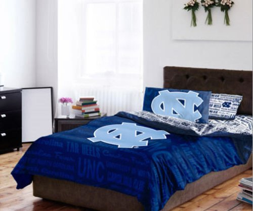 (UNC North Carolina Tar Heels Full Comforter & Sheet Set (5 Piece NCAA Bedding))
