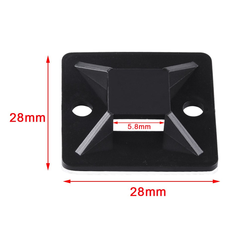 200 mm, largeur 3 mm AUSTOR 100 Pi/èces Attache-C/âble Adh/ésifs Noir 1,1x 1,1 avec 200 Pi/èces Colliers Nylon de Serrage de Noir longueur