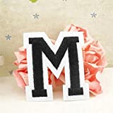 super1798 English Alphabet Letter A-Z Embroidered Sew Iron On Patch Badge DIY Applique - M