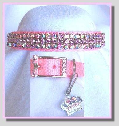 (~Prissy Pink Aurora~ Crystal Rhinestone Pet Dog Cat Collar Sz MEDIUM)