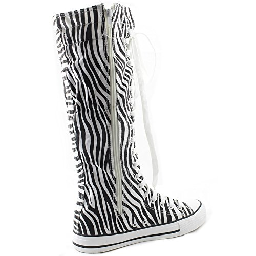 Knee Flat Boots Punk Tall Zebra Calf up High Stylish Lace Mid High Sky Classic Woman Sneaker Canvas Boots 5fpf6xnqHw