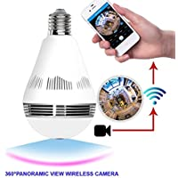 1080P 360 Degree IP Home Camera Bulb - E26 VR Panoramic Bulb Security Wifi Spy Double Light Fish Eye Panoramic Light Hidden Remote Home Security System 2.0MP Motion Detection