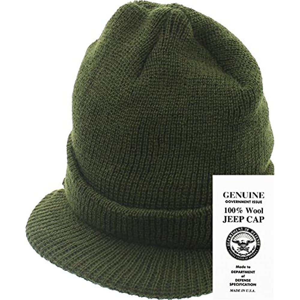 8ec8f97fea2 Genuine GI Official Military Wool Cold Weather Winter Knit Hat Jeep Watch  Cap (Olive Drab) Clothing