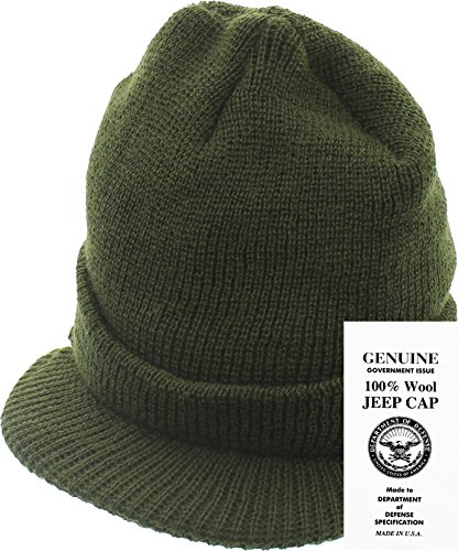 Genuine GI Official Military Wool Cold Weather Winter Knit Hat Jeep Watch Cap (Olive Drab)