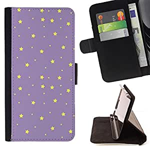 BullDog Case - FOR/Samsung Galaxy S4 IV I9500 / - / stars purple yellow night sky wallpaper /- Monedero de cuero de la PU Llevar cubierta de la caja con el ID Credit Card Slots Flip funda de cuer