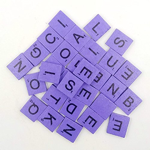 200pcs English Wood Letters A-Z Kids Learning Cognition Education Toy Games Scrabble Tiles Wood Craft Letters Word Tiles Wooden Letters Replacement Tiles Square letter For Scrapbooking (Purple)