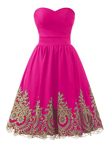 Bess Bridal Women's A Line Satin Short Prom Party Dresses with Gold Lace US16 Fuchsia