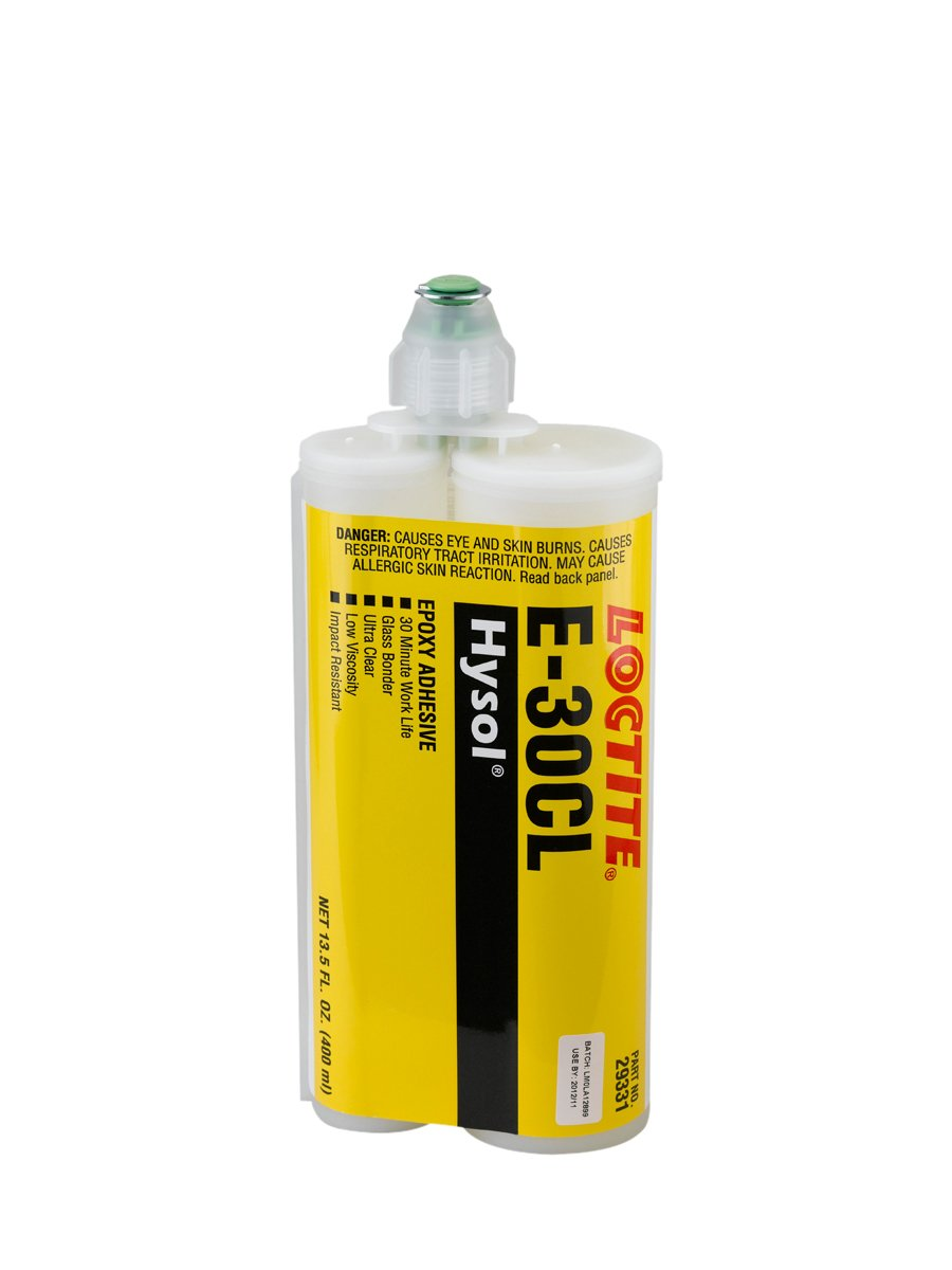Loctite 237118 Clear E-30CL Hysol Epoxy Structural Adhesive, Glass Bonder, 400 mL, 13.52 fl. oz, Dual Sided Cartridge