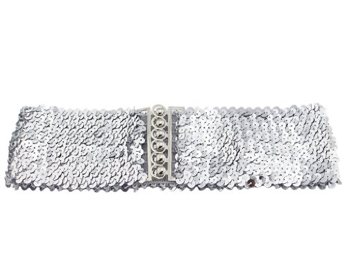 BONAMART Women Girls Glitter Sequins Elastic Fabric Wide Belt Waistband Cinch (Stretch from 17.5in to 29.5in / 45cm to 75cm)