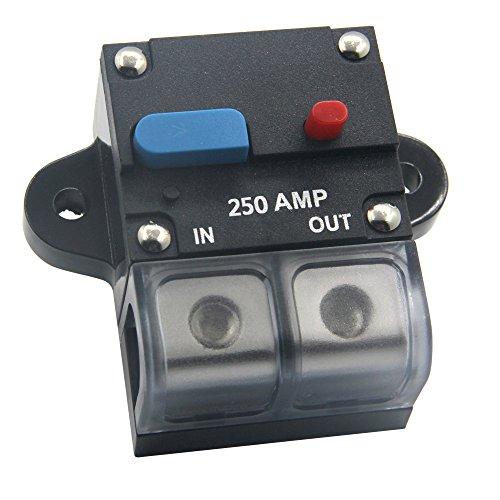 ZOOKOTO 12-24 Volt DC 250A Circuit Breaker, 0 or 4 Gauge Trolling Motor Auto Car Marine Boat Bike Stereo Audio Inline Fuse Holders Inverter (250A)
