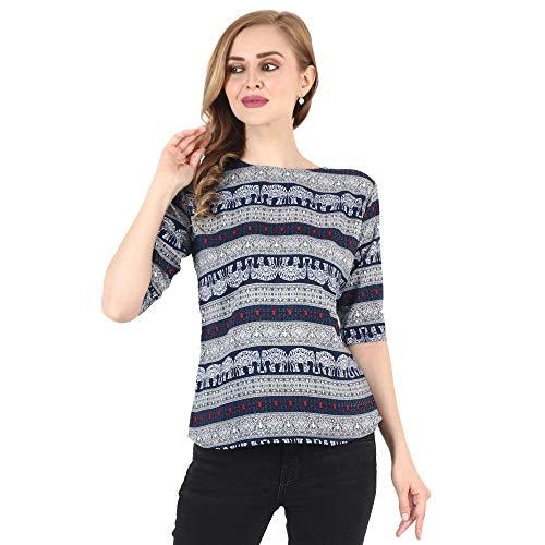 Purplehuez Casual Half Sleeve Animal Print Women Blue Top