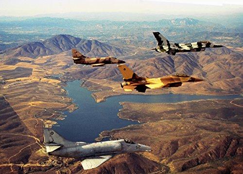 Two U S  Navy U S  Marine Corps General Dynamics F 16N Viper And Two Douglas A 4F Skyhawk Of The Uni