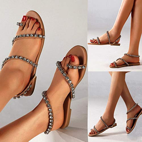 NEARTIMEWomen's Boho Sandals-Fashion Sexy Summer Shoes Casual Crystal Beaded Flat Bottom Sandals Party Shoes