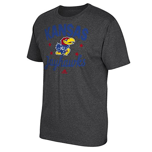 - NCAA Kansas Jayhawks Men's Easy Going Short Sleeve Tee, Large, Dark Gray Heathered