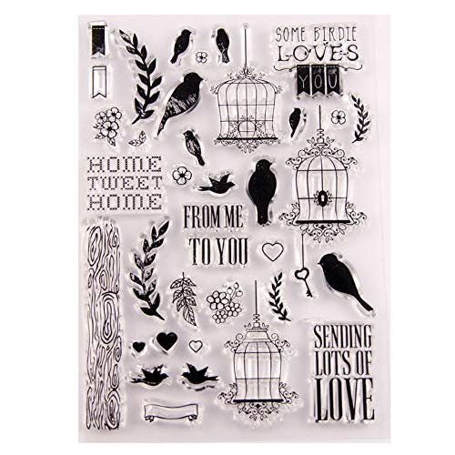 Birds Cage Birdie Loves You Stamp Rubber Clear Stamp/Seal Scrapbook/Photo Album Decorative Card Making Clear Stamps ()