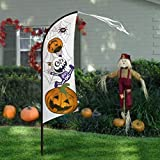 Pawliss Halloween Yard Decorations, 7'4″ Large Feather Flag Swooper Flag with Pole Kit, Ghost Pumpkin Garden Flag, Halloween Trick or Treat Party Outdoor Decoration