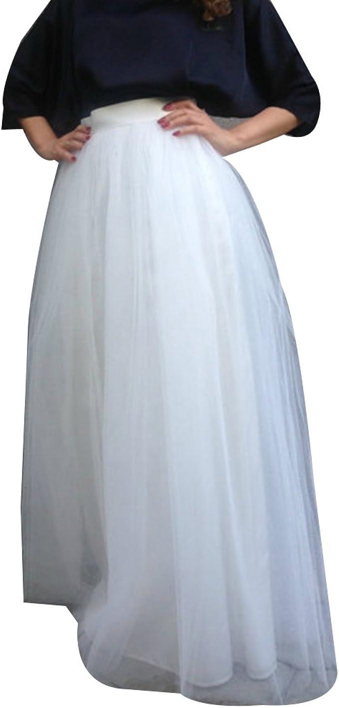 DEBAIJIA Donna Gonna Tulle Lunga Moda Pieghe Maglia Principessa Gonne Vita Elastica 4 Strati per Festa Danza