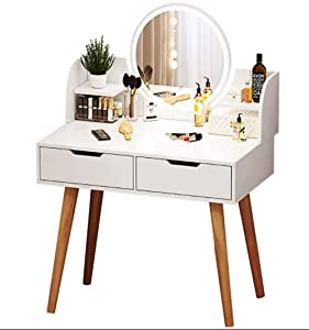 LEMONADE IDEAS White Vanity Set with Lighted Mirror, Makeup vanity mirror with lights and table set with drawers Touch Screen Dimming Mirror - Sophisticated and Beautiful Appearance