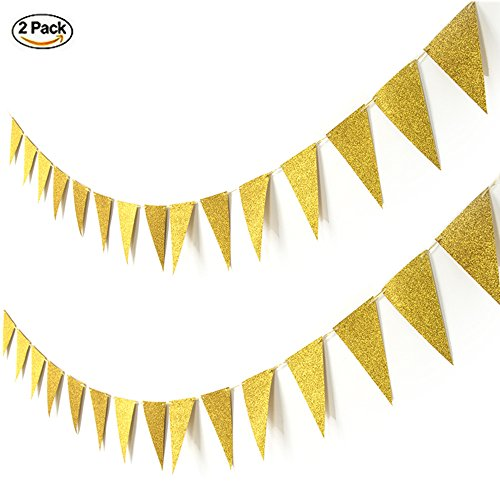 Banner Photo Paper (16 Feet Glitter Gold t Hanging Decoration Paper Banner Bunting Triangle Flags Sparkle Pennant for Baby Shower Birthday Party Wedding Decoration Photo Props)
