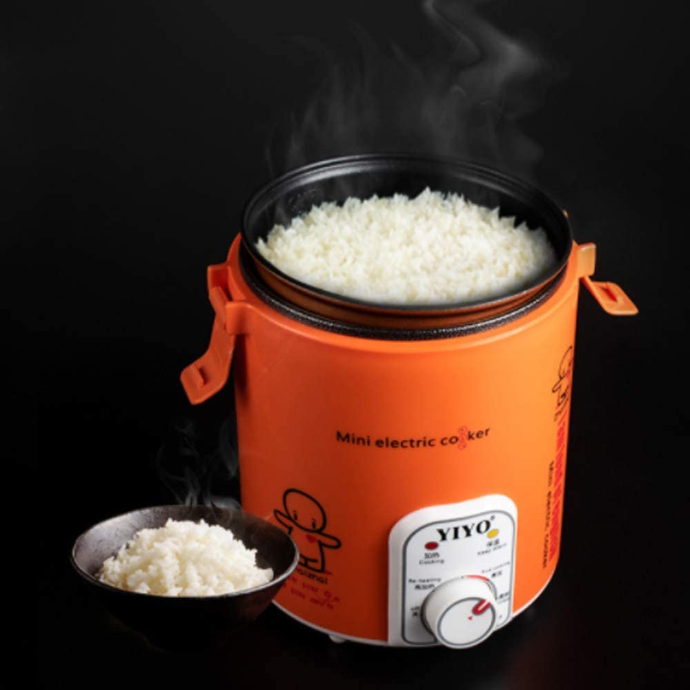 MAOMAOQUEENss 12V Mini Rice Cooker, 1.2L Vehicle-Mounted Rice Cooker, Portable Food Lunch Heater, Non-Stick Pan for 1-2 People, Mini Travel Cooker for Cooking and Keeping Warm,Orange