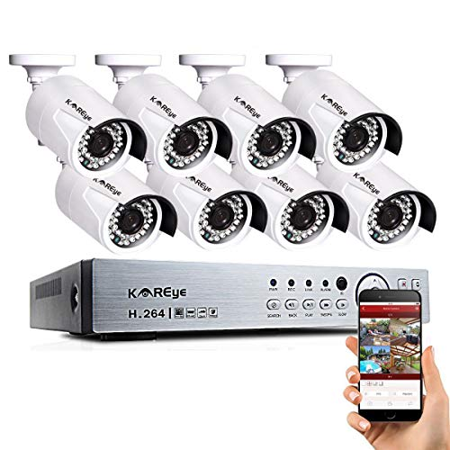 16 Channel Security Camera System, Hybrid 1080N 16CH DVR Recorder with 8 x 720P Wired AHD IP65 Waterproof Surveillance Bullet Cameras Outdoor Indoor with Day Night Vision (16ch Security Camera)