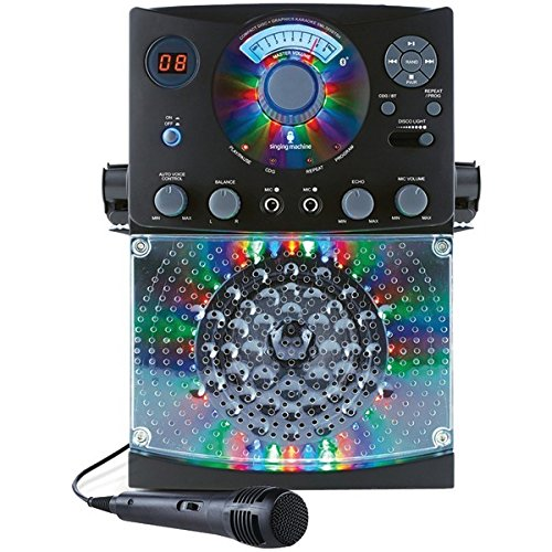 Singing Machine SML385UBK Bluetooth Karaoke System with LED Disco Lights, CD+G, USB, and Microphone, Black -