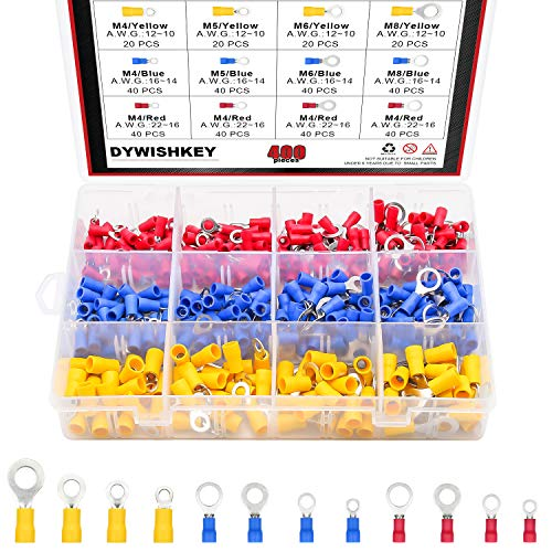 DYWISHKEY 400PCS 22-16/16-14/12-10 Gauge Mixed Quick Disconnect Electrical Insulated M4 / 5/6 / 8 Ring Crimp Terminals Connectors Assortment Kit ()